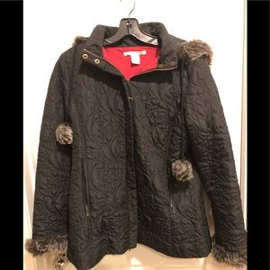 CAbi lightweight quilted jacket with faux fur trim